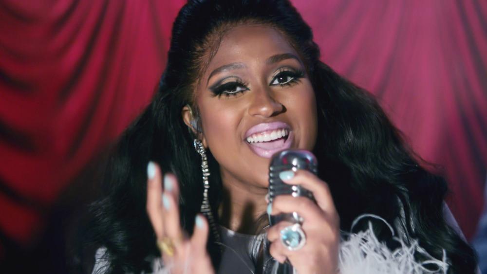 Jazmine Sullivan performing at the 2020 Soul Train Awards