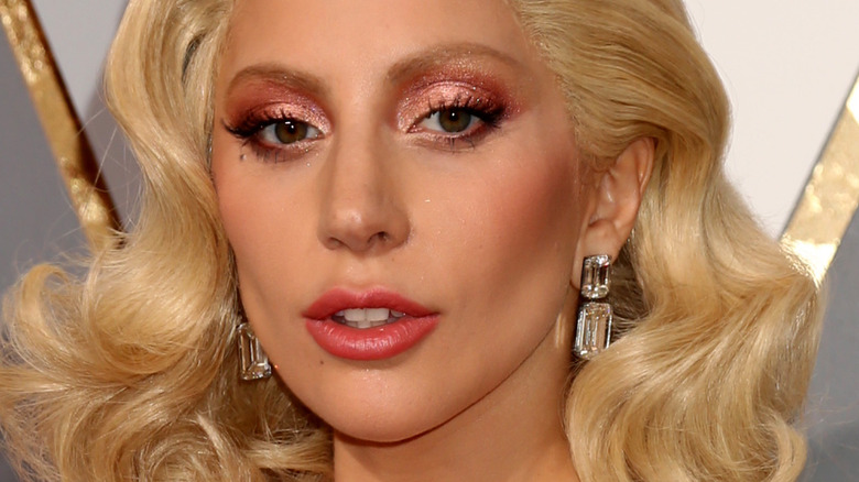Lady Gaga on red carpet at the Oscars