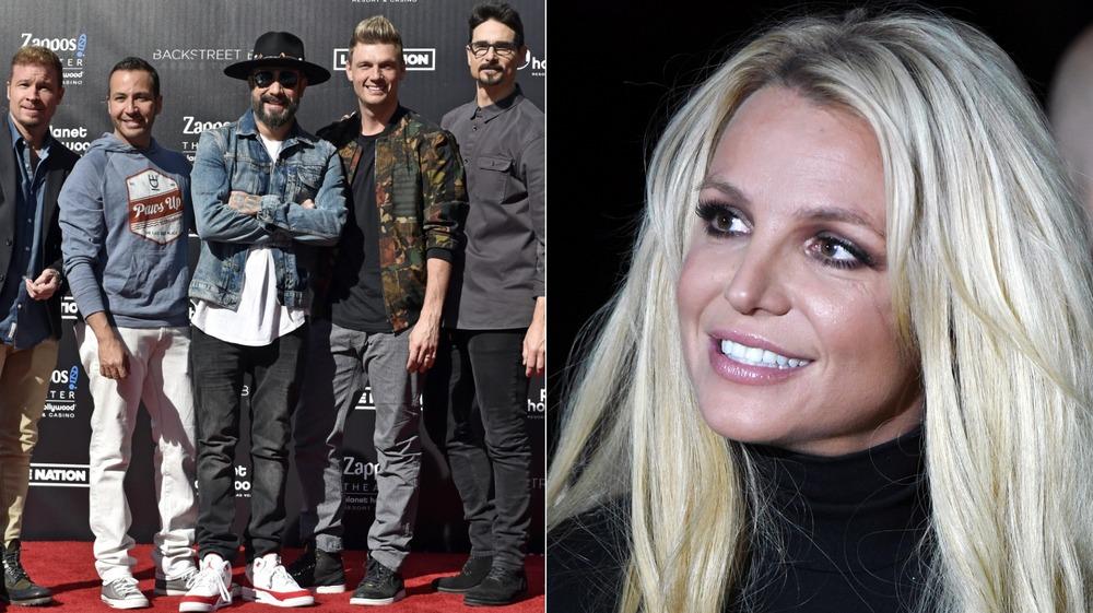 Britney Spears and the Backstreet Boys split image