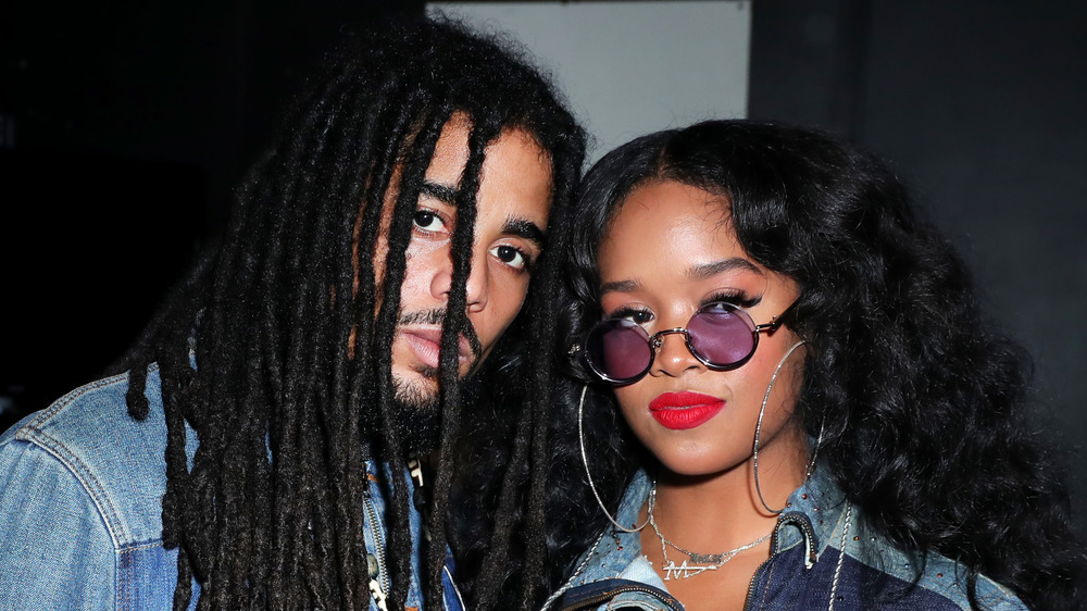 Skip Marley and H.E.R. pose together