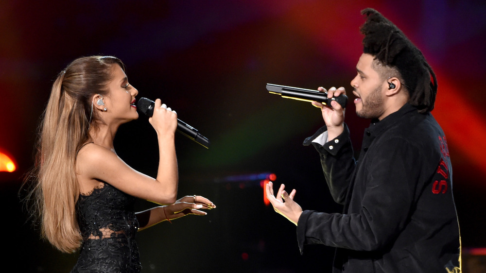 Ariana Grande and The Weeknd singing