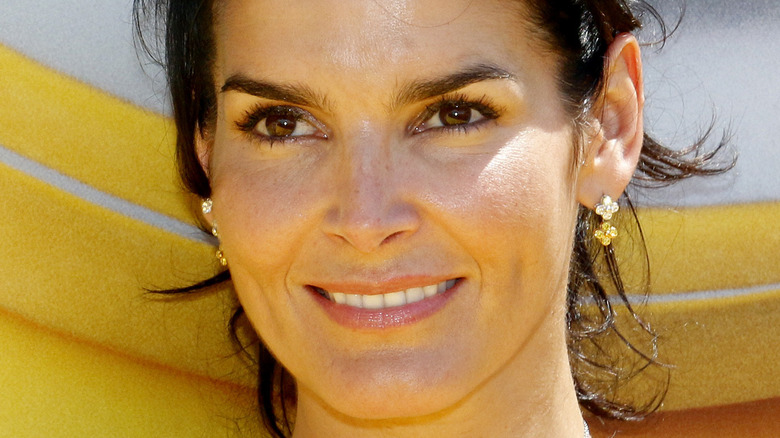 Angie Harmon smiling and looking to the side