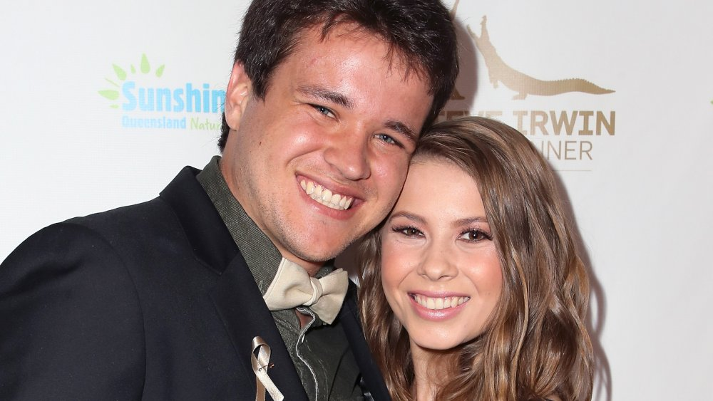 Wakeboarder Chandler Powell (L) and conservationist/TV personality Bindi Irwin attend the Steve Irwin Gala Dinner 2018