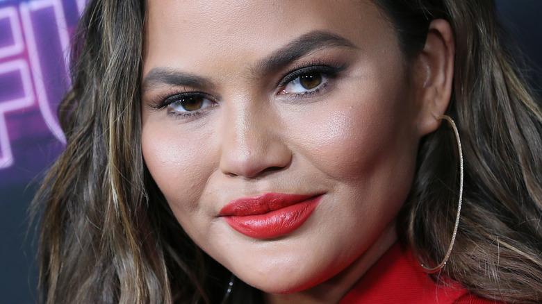 Chrissy Teigen with red lipstick