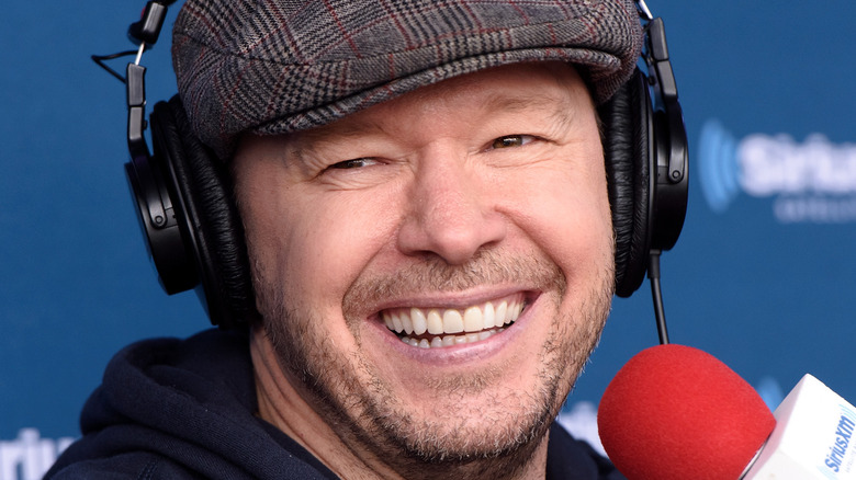 Donnie Wahlberg wear hat during Sirius XM interview