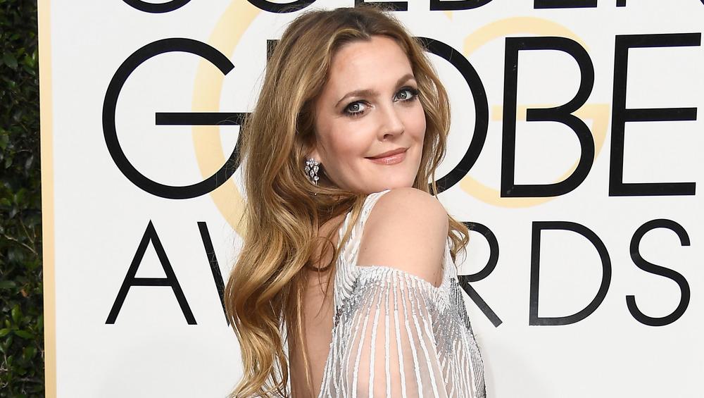 Drew Barrymore on red carpet at Golden Globes