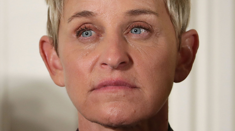 Ellen DeGeneres with a serious expression