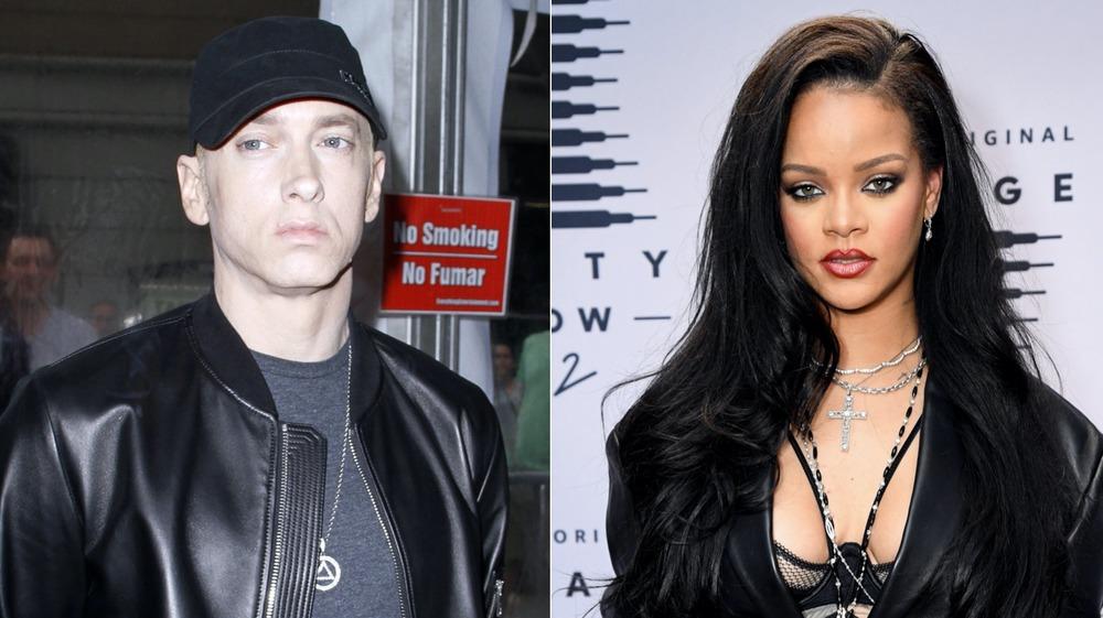 Eminem and Rihanna not smiling