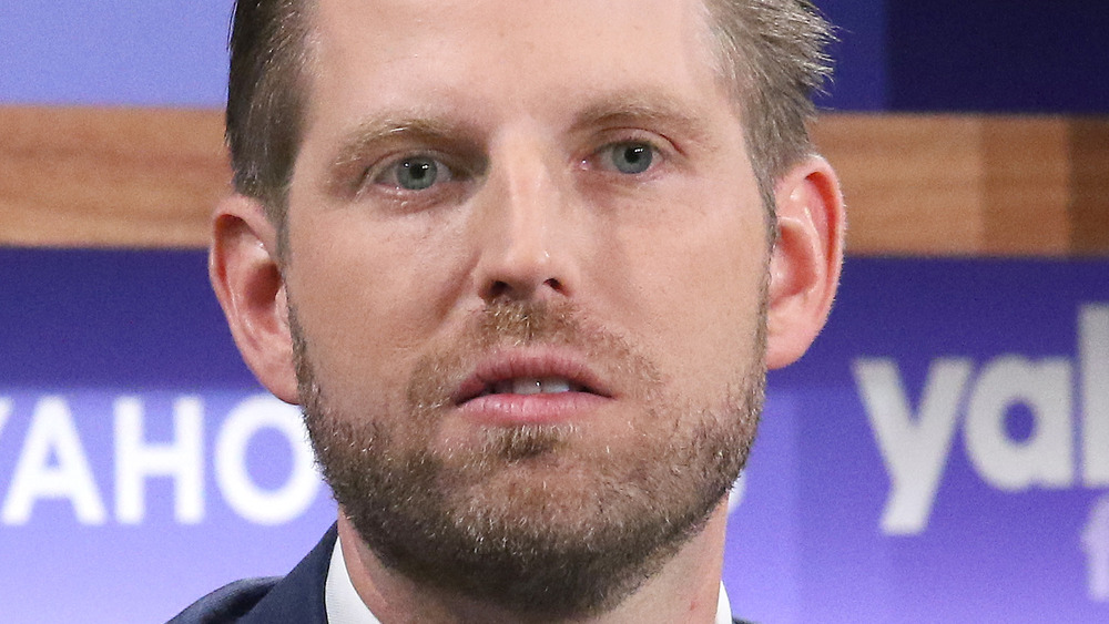 Eric Trump looking off into the distance