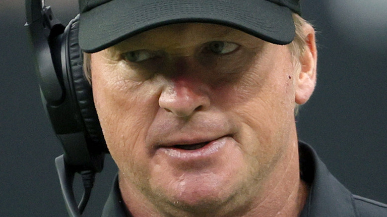 Jon Gruden of the Las Vegas Raiders reacting during a game