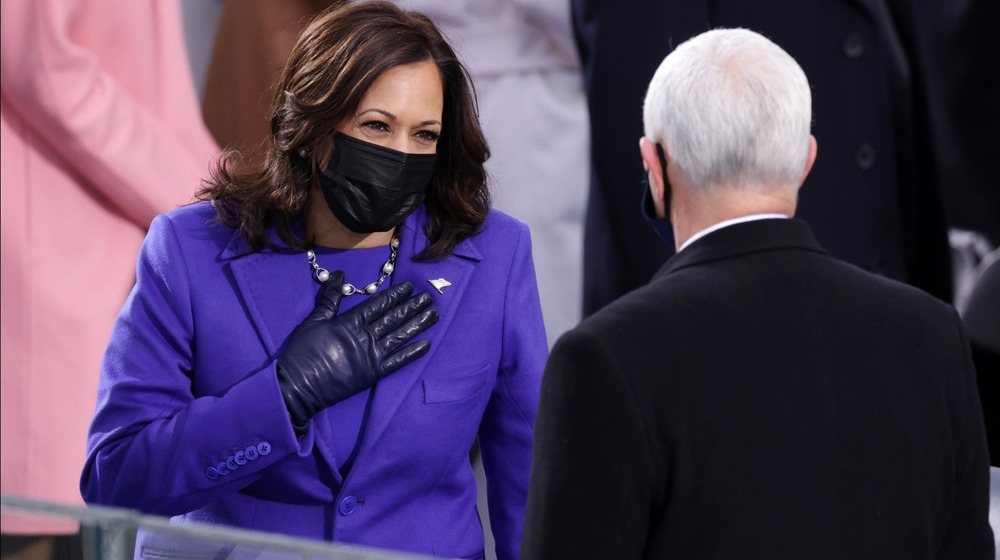 Vice President Kamala Harris in purple outfit