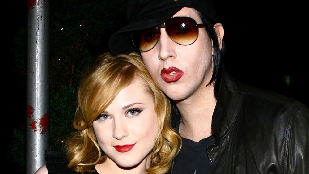 Evan Rachel Wood, Marilyn Manson in black