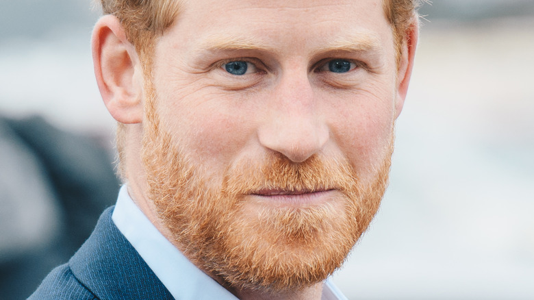 Prince Harry with serious expression