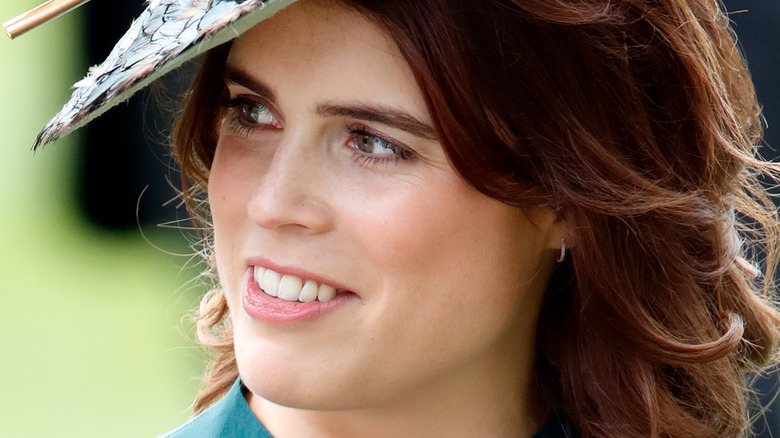 Princess Eugenie looking to the side at event
