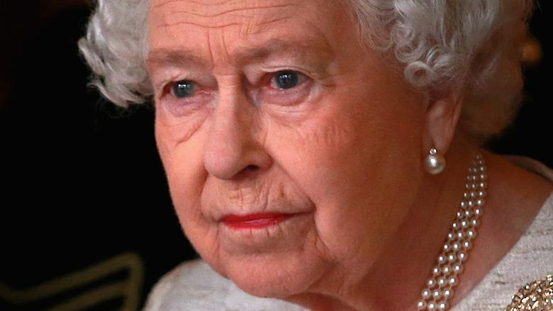 Queen Elizabeth looking sad