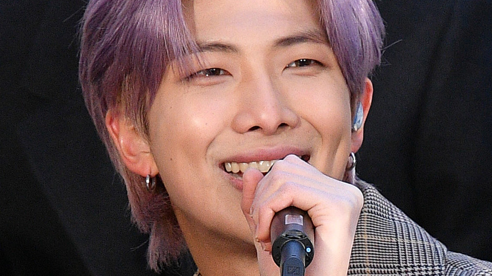 RM BTS with purple hair