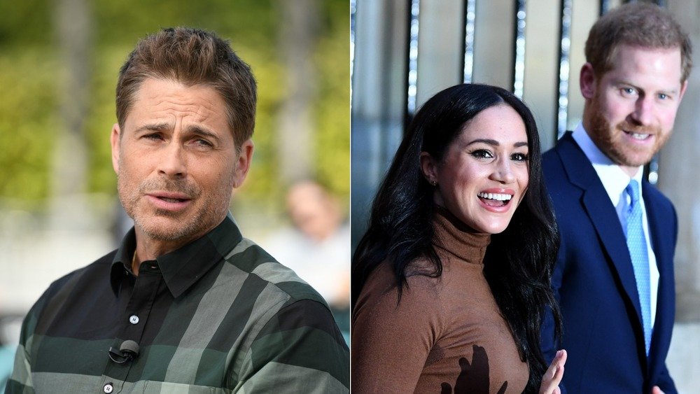 Rob Lowe and Prince Harry walking with Meghan Markle