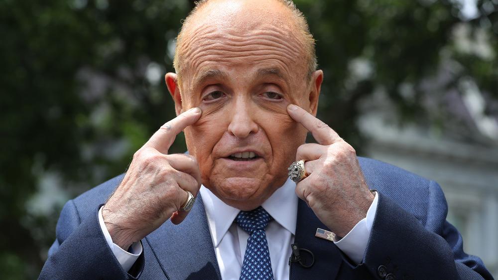 Rudy Giuliani making a weird face