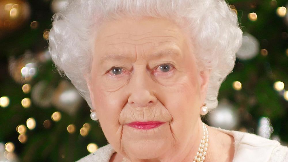 Queen Elizabeth II staring