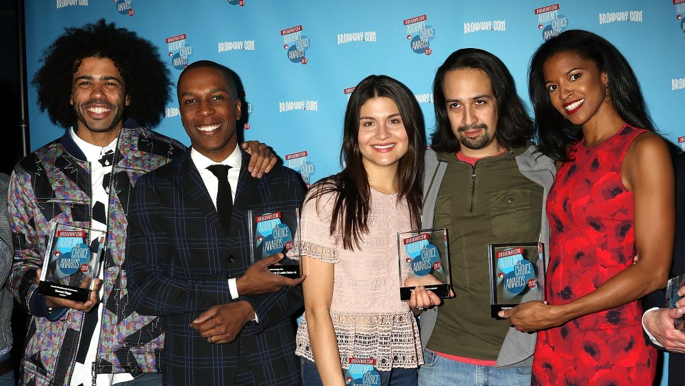 Daveed Diggs, Leslie Odom Jr., Phillipa Soo, Lin-Manuel Miranda and Renee Elise Goldsberry attend 2016 Broadway.com Audience Choice Awards Reception at 48 Lounge