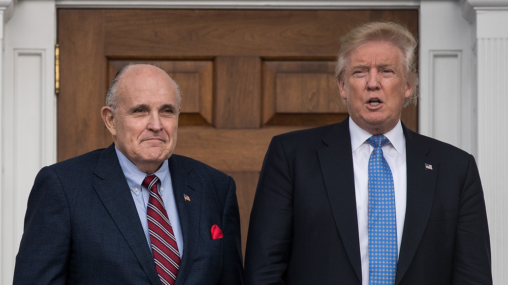 Donald Trump and Rudy Giuliani standing together
