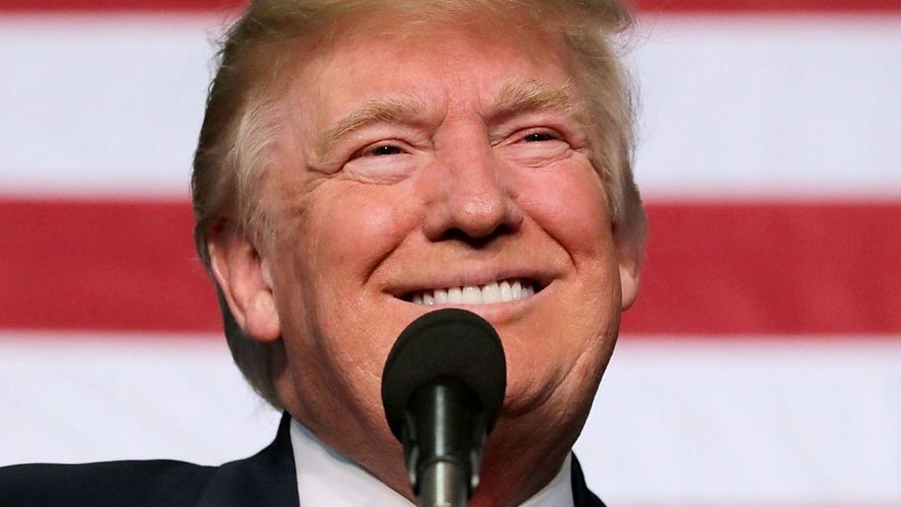 Donald Trump grins into mic
