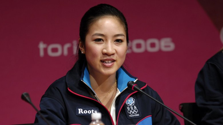 Michelle Kwan talking to the press