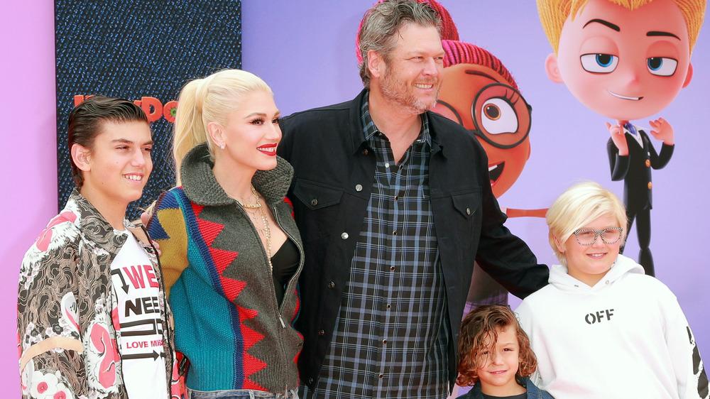 Blake Shelton, Gwen Stefani smiling with her kids