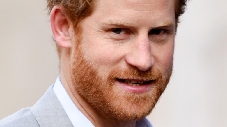 Prince Harry slightly smiling