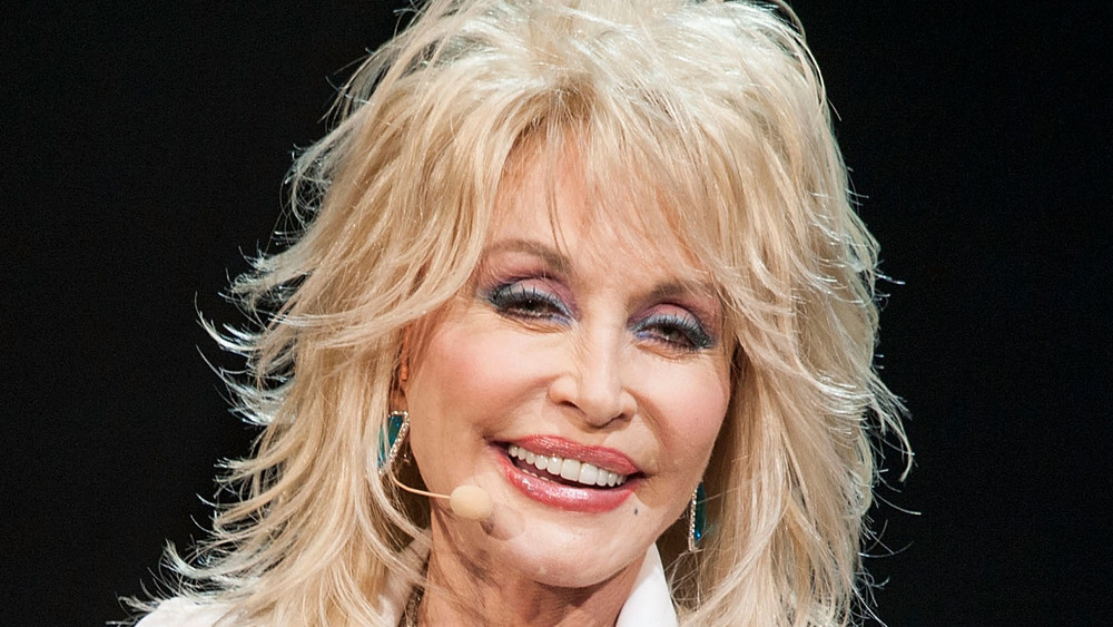 Dolly Parton performing on-stage