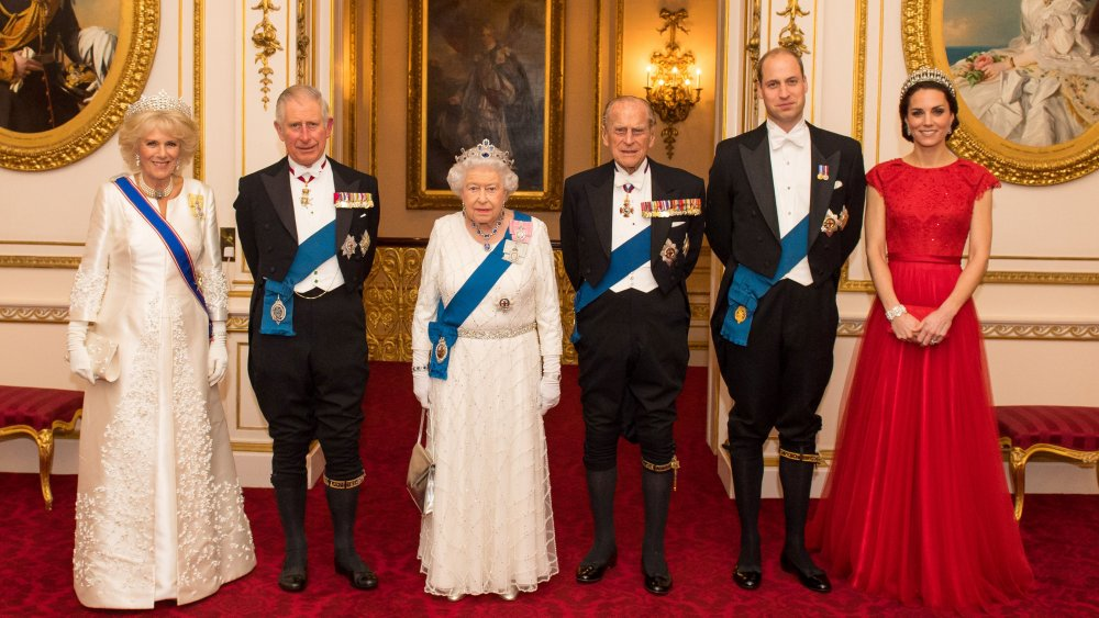 Camilla Duchess of Cornwall, Prince Charles, Queen Elizabeth, Prince Philip, Prince William, Kate Middleton