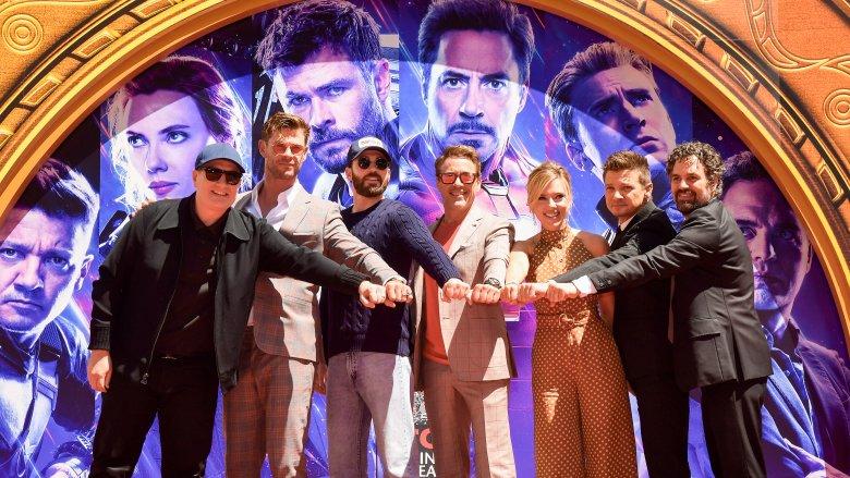 The cast of Avengers: Endgame, including Producer Kevin Feige, Chris Hemsworth, Chris Evans, Robert Downey, Jr., Scarlett Johansson, Jeremy Renner, Mark Ruffalo