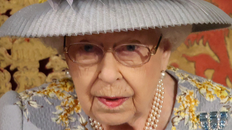 Queen Elizabeth II during State Opening of Parliament 2021