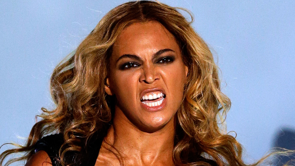 Beyonce looking fierce during her Super Bowl XLVII halftime show