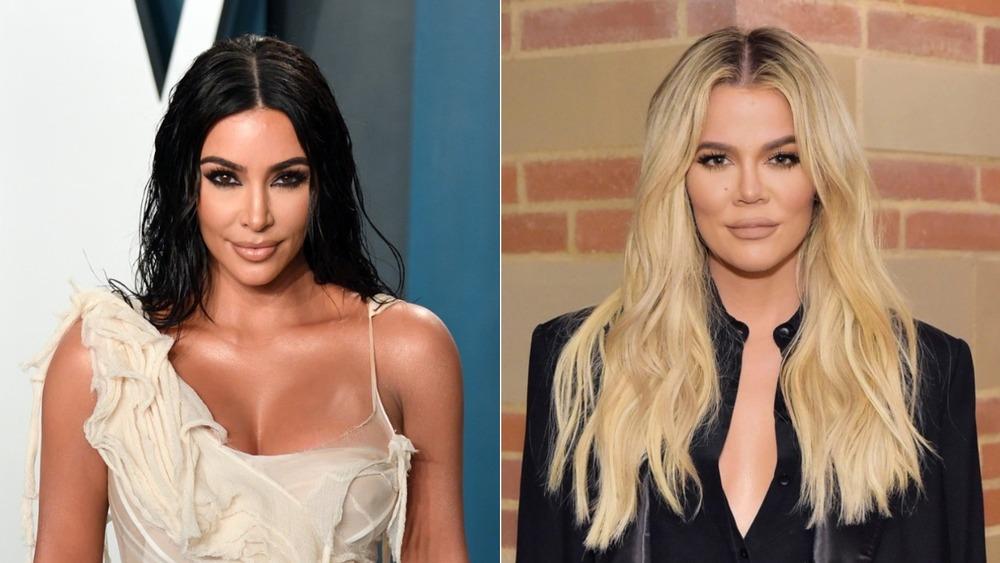Kim and Khloe Kardashian posing