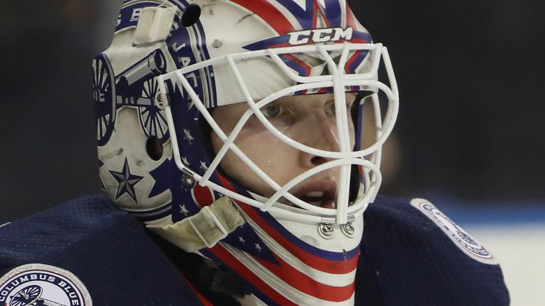 Matiss Kivlenieks playing hockey