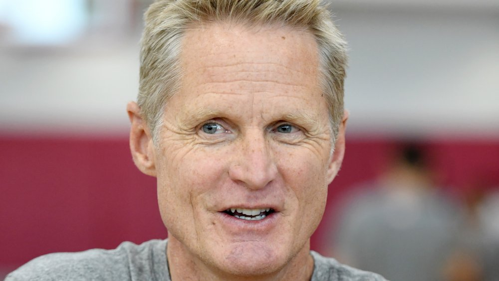 Assistant coach Steve Kerr of the 2019 USA Men's National Team is interviewed during a practice session at the 2019 USA Basketball Men's National Team World Cup minicamp