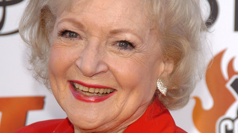 Betty White on a red carpet