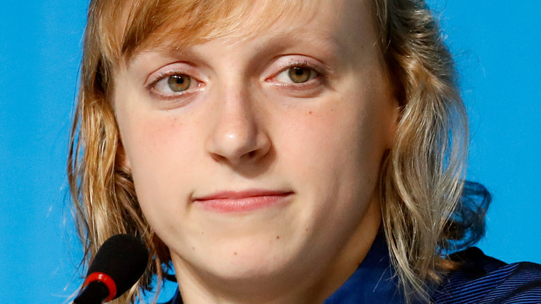 Katie Ledecky with microphone
