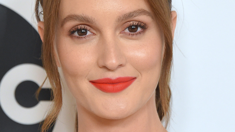 Leighton Meester poses in red lipstick