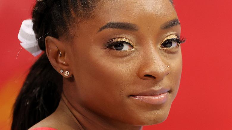 Simone Biles with gold eyeshadow