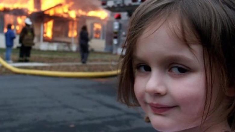 Zoe Roth as disaster girl meme