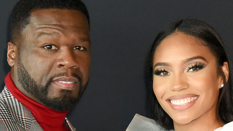 50 Cent and Jamira Haines on the red carpet
