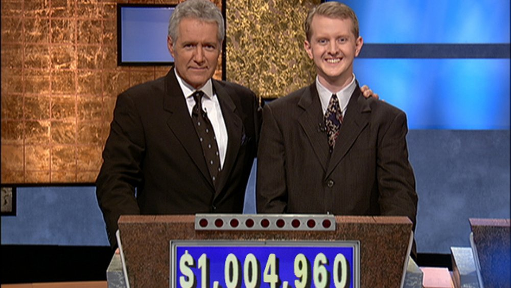 Alex Trebek and Ken Jennings during an episode of Jeopardy