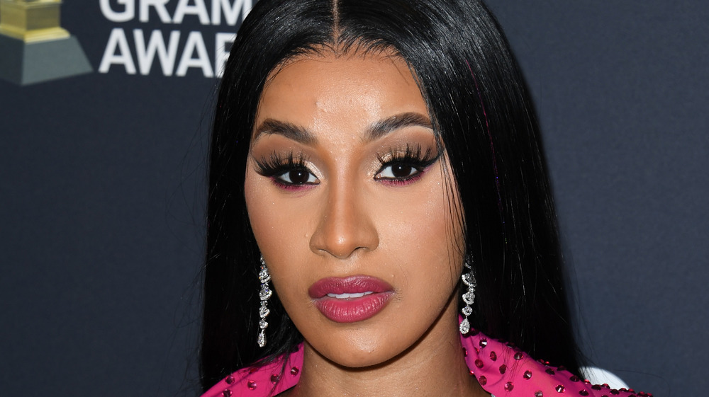 Cardi B with acne on forehead and chin