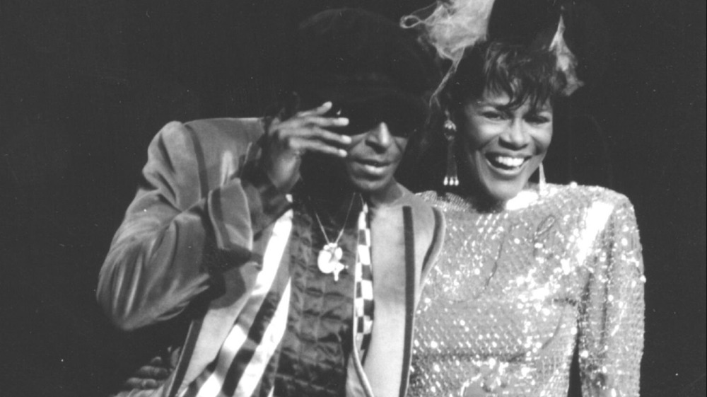 Miles Davis and Cicely Tyson attend tribute to Miles Davis at Radio City Music Hall 1983