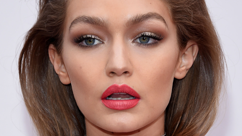 Gigi Haidid staring with mouth open