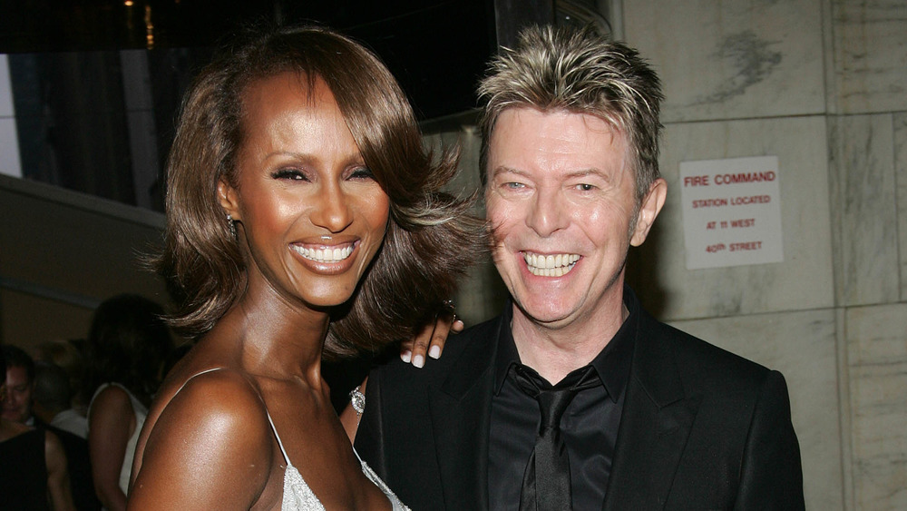 David Bowie and Iman smiling together