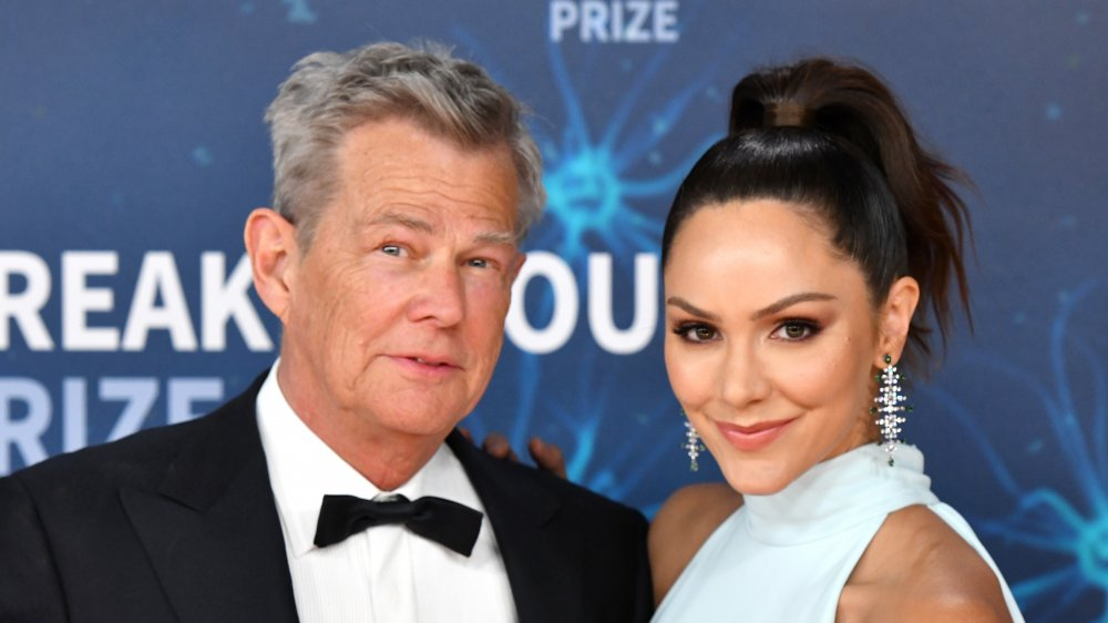 David Foster and Katharine McPhee attend the 2020 Breakthrough Prize Red Carpet at NASA Ames Research Center