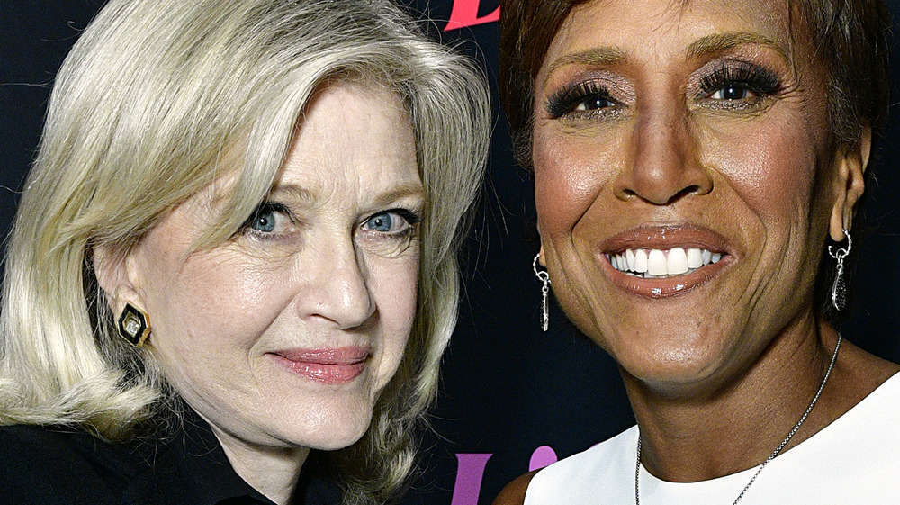 Diane Sawyer and Robin Roberts smiling on the red carpet or Lifetime